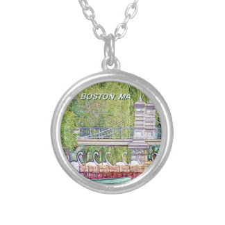 Boston Swan Boats in Pencil and Ink Filter Silver Plated Necklace