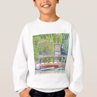Boston Swan Boats in Pencil and Ink Filter Sweatshirt