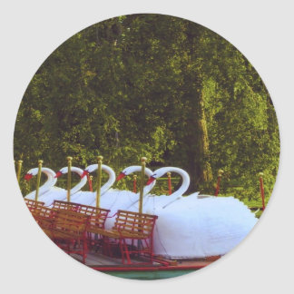 Boston Swan Boats Round Sticker