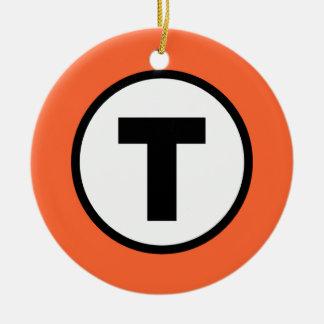 Boston T Orange Line Ceramic Ornament