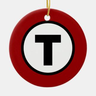 Boston T Red Line Ceramic Ornament