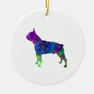 Boston Terrier 02 in watercolor Ceramic Ornament