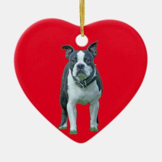 Boston terrier  1b ceramic heart ornament