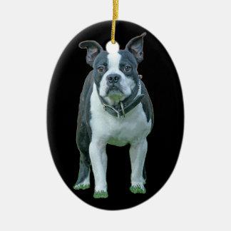 Boston terrier  1b ceramic oval ornament