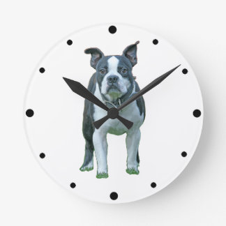 Boston terrier  1b round clock