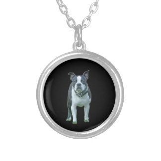 Boston terrier  1b silver plated necklace