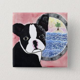 Boston Terrier 2 Inch Square Button