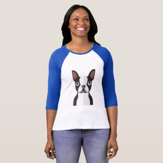 Boston Terrier 3/4 Length Tshirt Womens