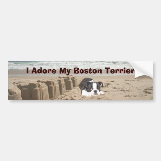 Boston Terrier Adore Bumper Sticker Sandcastles