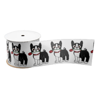 Boston Terrier American Gentleman 3 Inches Satin Ribbon