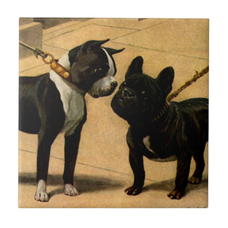 Boston Terrier and French Bulldog Tile