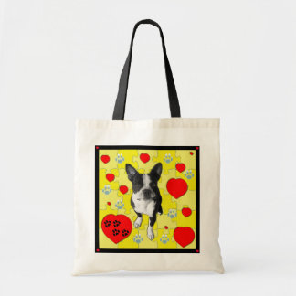 Boston Terrier and Hearts Tote