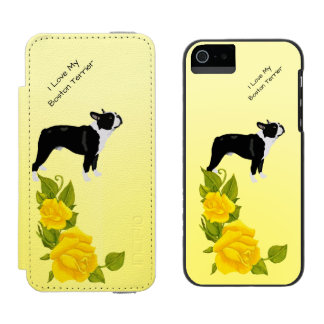 Boston Terrier and Yellow Roses Incipio Watson™ iPhone 5 Wallet Case