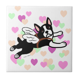 Boston Terrier Angel Cartoon Hearts Tile