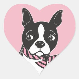 Boston Terrier Art Pink Heart Stickers