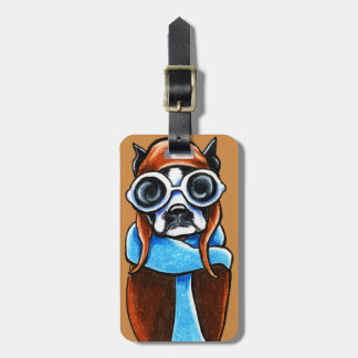 Boston Terrier Aviator Luggage Tag