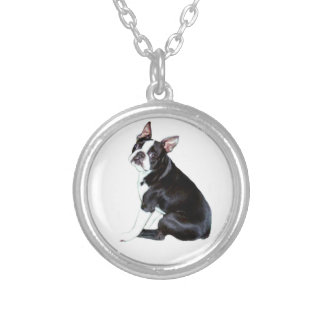 Boston Terrier (B) Silver Plated Necklace