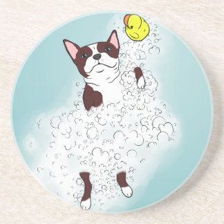 Boston Terrier Bath Beverage Coasters
