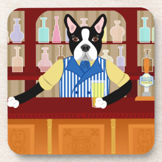 Boston Terrier Beer Pub Drink Coasters