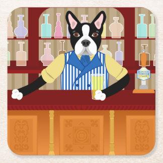 Boston Terrier Beer Pub Square Paper Coaster