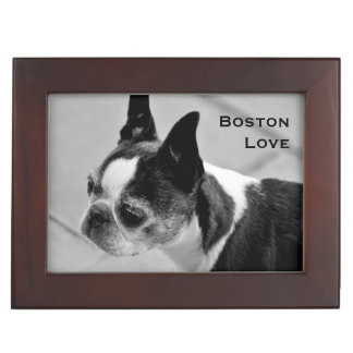 Boston Terrier Black and White Keepsake Box