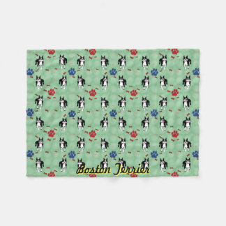 Boston Terrier Cartoon Fleece Blanket