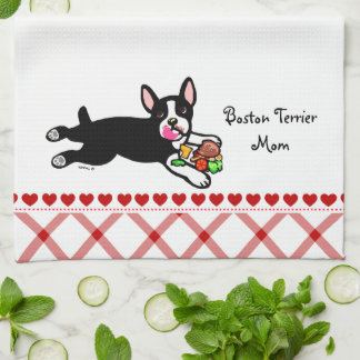 Boston Terrier Cartoon Kitchen Towel