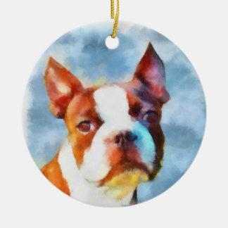 Boston Terrier Ceramic Ornament