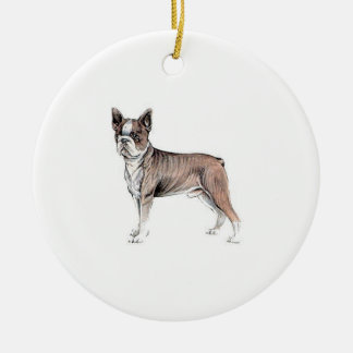Boston Terrier Ceramic Ornament