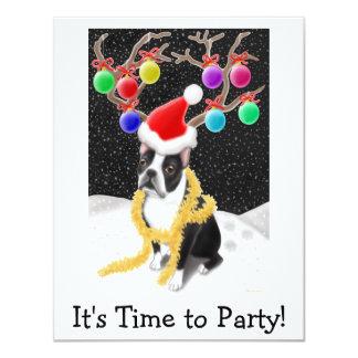 "Boston Terrier Christmas 4.25"" X 5.5"" Invitation Card"
