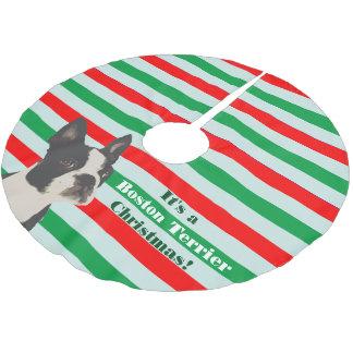 Boston Terrier Christmas Brushed Polyester Tree Skirt