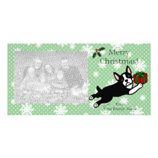 Boston Terrier Christmas Cartoon Photocards Picture Card