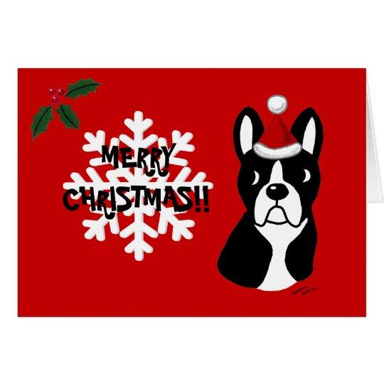 Boston Terrier Christmas Cartoon Snowflake Card