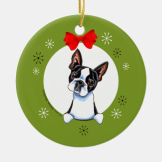 Boston Terrier Christmas Classic Ceramic Ornament