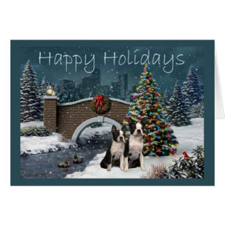 Boston Terrier Christmas Evening Greeting Card