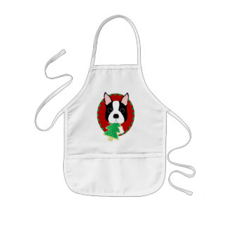 Boston Terrier Christmas Kids Apron