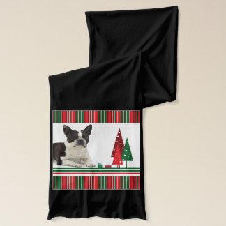 Boston Terrier Christmas Scarf