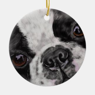 Boston Terrier Close Up Ceramic Ornament