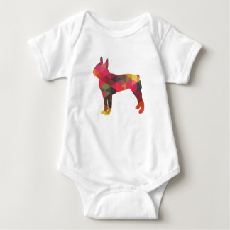 Boston Terrier Colorful Geometric Silhouette Baby Bodysuit