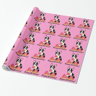 Boston Terrier Cupcakes Birthday Gift Wrap