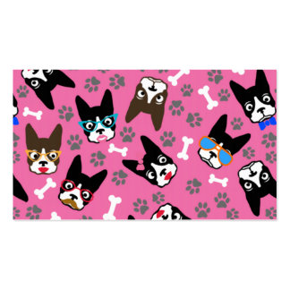 Boston Terrier Cute Mustache Funny Faces Business Cards
