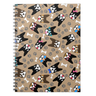 Boston Terrier Cute Mustache Funny Faces Notebook