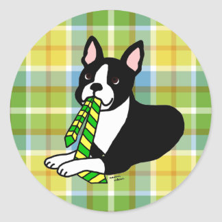 Boston Terrier Daddy 1 Plaid Classic Round Sticker