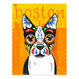 Boston Terrier Day of the Dead Postcard