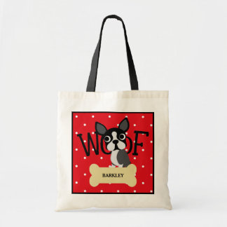 Boston Terrier Dog and Gold Bone and Red Polka Dot Tote Bag