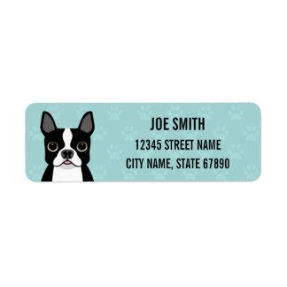 Boston Terrier Dog Blue Return Address Label