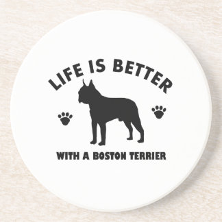 Boston terrier dog design drink coaster