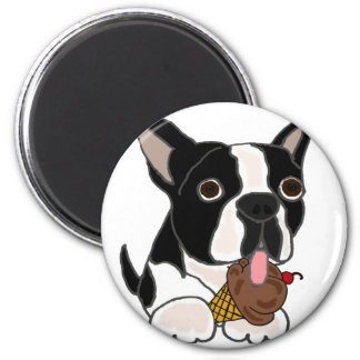 Boston Terrier dog Eating Ice Cream 2 Inch Round Magnet