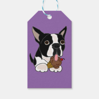 Boston Terrier dog Eating Ice Cream Pack Of Gift Tags