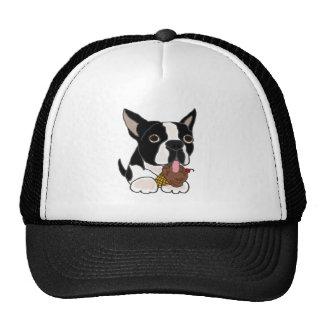 Boston Terrier dog Eating Ice Cream Trucker Hat